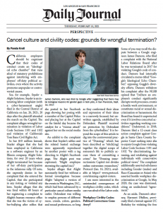 Cancel Culture and Civility Codes as Grounds for Wrongful Termination
