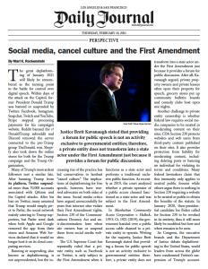 Social media, cancel culture and the First Amendment